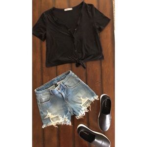 Mid/High Waist Distressed Shorts